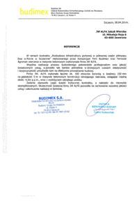 Referencje dla JW Alfa od firmy Budimex.